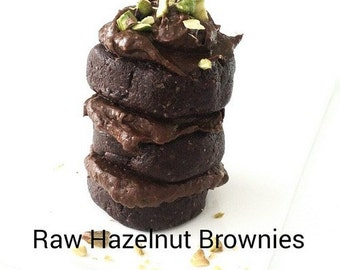 Raw Chocolate Hazelnut Brownies, Vegan, Dairy Free, Gluten Free, Sugar Free, Instant Download