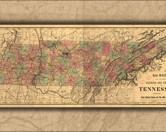 24x36 Poster; Railroad And County Map Of Tennessee 1888