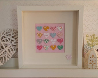 Personalised Baby Girl Hearts in White Box Frame