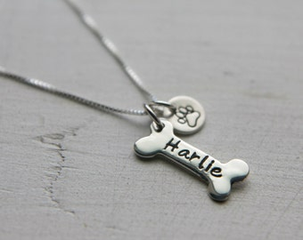 Sterling Silver Dog Bone Charm Necklace, Personalized - Custom - Customized -  Pet Name Jewelry, Dog Paw Jewelry, Dog Lovers Gift