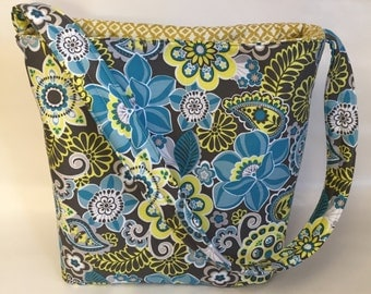 Multi-Colored Blue, Gray, Yellow Paisley Tote