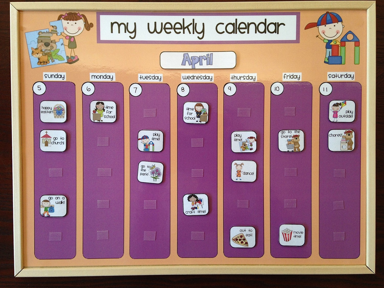 Weekly Calendar For Toddlers : Weekly kids calendar schedule activity chore chart