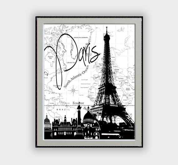 Paris wall decor typographic painting famous cities by for Black and white paris wall mural