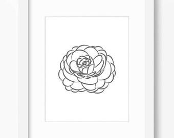 Peony Print, Flower Print, Peony Art, Flower Art, Graphic Peony, Peony Drawing, Peony Illustration, Flower Illustration, Flower Drawing