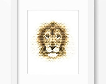 Lion Print, Lion Art, Lion Wall Art, Geometric Lion Print, Wall Print, Polygonal Lion Print, Lion Face, Geometric Lion, Lion Wall Print
