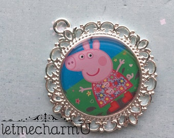 Peppa Pig Necklace Pendant - Peppa Pig Pendant - Peppa Pig Charm - Peppa Pig Necklace - Peppa Pig Pendants