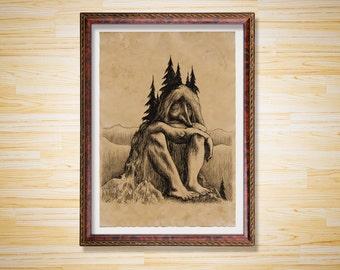Fantasy decor Troll print Mountain poster