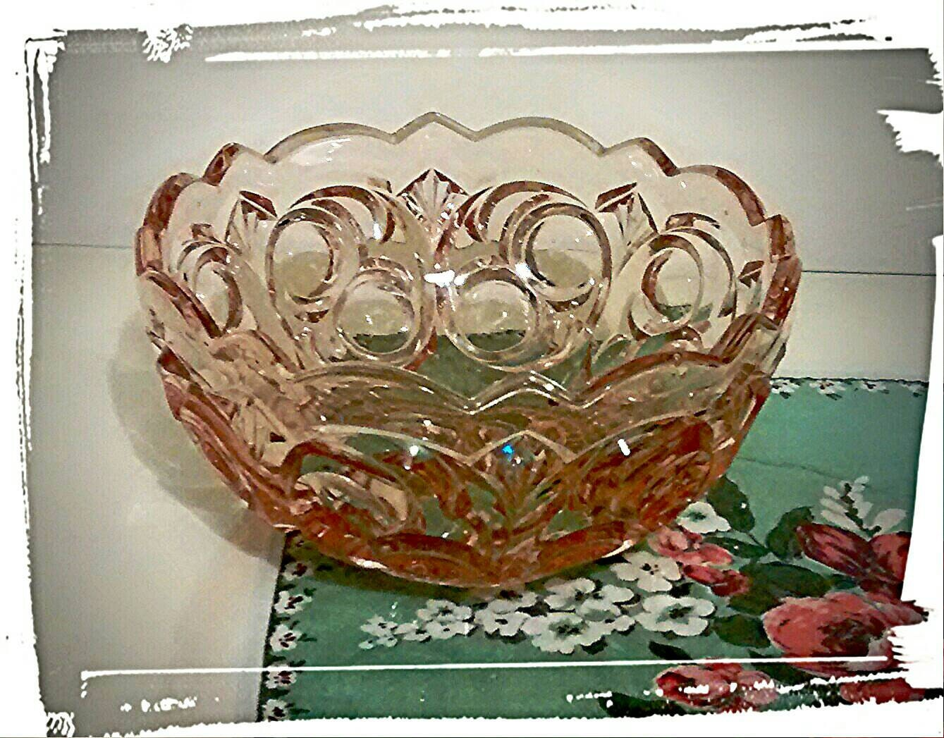 Large pink glass bowl art deco style wedding by VintageBigtime