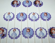 Sofia the First Cupcake Toppers,12 count Cake Toppers, Disney Princess Sofia