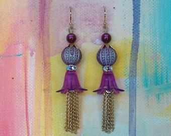 Blooming Spring Flower earrings in shades of purple and burgandy