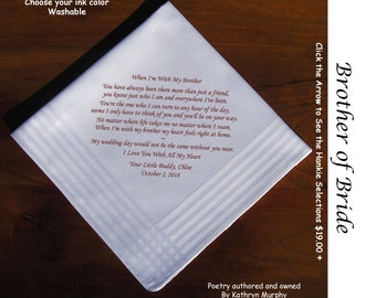 Brother of the Bride Gift Wedding Handkerchief 1103  Sign and Date For Free! ~ 8 Ink Colors Brother of Bride  Wedding hankie from the Bride