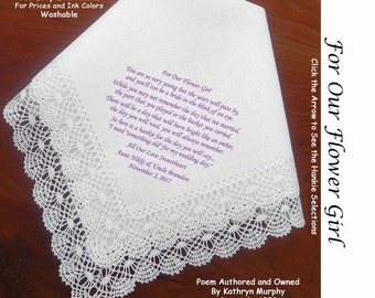 Flower Girl Gift Handkerchief ~ 0905A Sign & Date Free!  5 Flowergirl Handkerchief Styles and 8 Ink Colors. Flower Girl Hankerchief