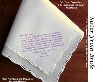 Sister of the Bride Gift Hankie 1007 ~ 5 Wedding Hankie Styles ~ Sign & Date for Free! 8 Ink Colors ~ Sister of Bride Hankerchief