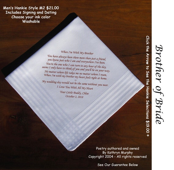 Brother Of The Bride Gift Wedding Handkerchief 1103 Sign And