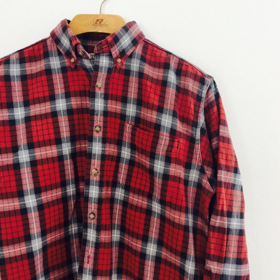 Red Checkered Plaid Flannel Ll Bean By Projectobjectvintage