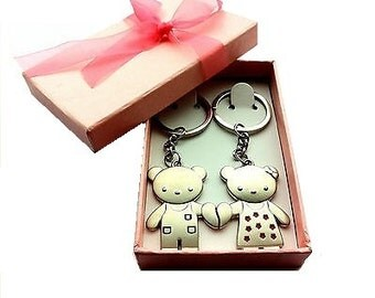 Valentines Couples KeyRing Set with Pink Box and Ribbon