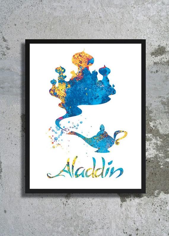 Aladdin Magic Lamp Disney Watercolor Art Print Aladdin Poster