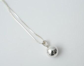 Minimalist Reflective Sphere Bell Pendant - Handmade, Sterling Silver Jewellery