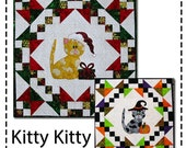 Quilted Wall Hanging Appliqued Quilt Pattern for Halloween or Christmas with a little kitten