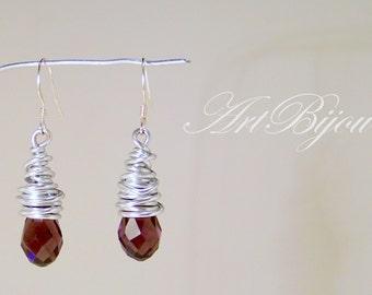 Crystal Earrings, Silver Earrings, Aluminum Earrings, Dangle Earrings, Purple Crystal, Modern Earrings, Women Gift, Gift Her, Gift Idea
