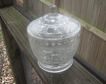 Vintage Pressed Glass Covered Candy Dish In Clear Glass