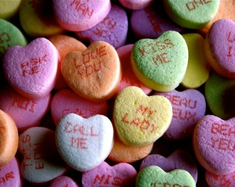 Valentine's Day Photography, Photo Art Cards, Greeting Card,Fine Art Print, Lovers, Romance, Candy Hearts,