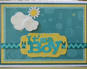 Handmade Welcome Baby Boy Card-Handmade Baby Boy Congratulations Card-Baby Shower Handmade Boy Card-Yellow and Blue