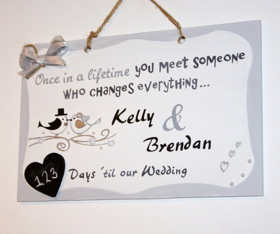 Wedding Countdown Plaque. Engagement Gift. Countdown To