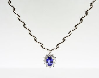 1.91ct Oval Tanzanite And Diamond 14K Gold Necklace