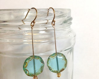 Gold Drop Earrings with Blue Bead