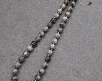 Black Veined Jasper and Haematite Necklace