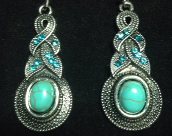 Turquoise Earrings With Aquamarine Rhinestones