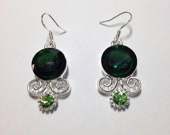Emerald S80 Silver Earrings