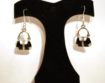 Earring Black and White Purse E-65