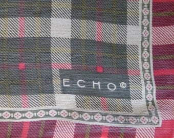 Echo red and green tartan vintage scarf