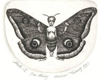 Owl Moth. Ex libris. Bookplate. Original hand-pulled etching.