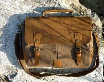 Northern light Messenger bag in canvas and leather, Briefcase (canvas: light brown), canvas leather