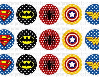 Super Hero Inspired Bottle Cap Images