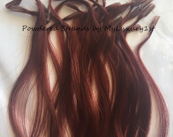 Dark Auburn Red U tip Fusion tips Hair Extension Streaks 10, 20, 25 Strands Keratin Nail tipped