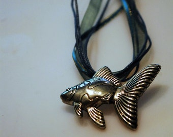 Teal Ribbon Koi Fish Necklace
