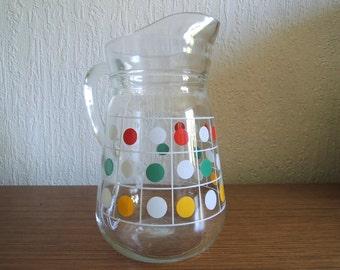 Lovey 60s 70s Dots Glass Jug Pitchers / Vintage Jug
