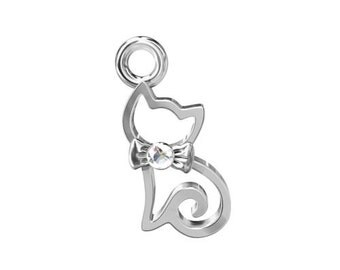 Charm Kitty bejewelled with zircon Sterling Silver 925