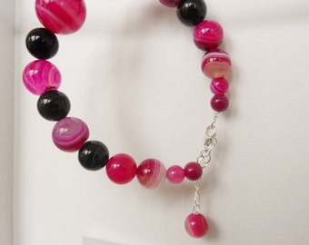 Sterling Silver and Pink Agate Rounds Bracelet