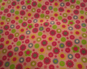 Cotton flannel fabric with flowers