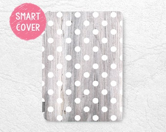 "White Polka Dots pattern grey wood print Smart Cover for iPad Mini, iPad mini 4, iPad Air, iPad Air 2, iPad Pro 12.9, New iPad 9.7"" 2017 -G6"