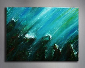 "Abstract Painting - Sea Painting - 16"" x 20'' Painting - 40 x 50 cm Painting - Acrylic Painting - Original Handmade Art"