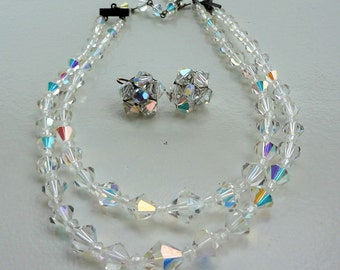 Vintage crystal necklace and earrings
