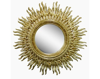 "Large 48"" Vintage Mid Century Modern Hollywood Regency Wavy Gold Gilt Sunburst Flame Wall Mirror"
