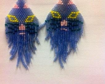 Handmade beaded cat dangle earrings