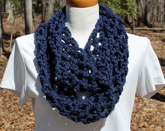 Navy Blue Cowl Crochet Scarf Navy Infinity Scarf Blue Eternity Scarf